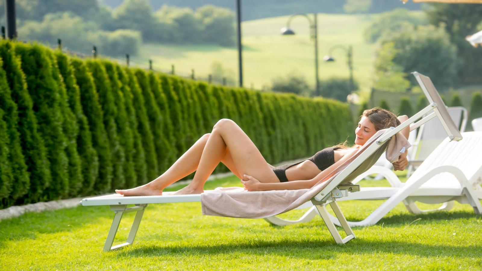 Relax in the solarium garden between a dip and a swim